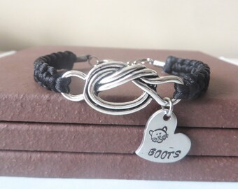 Love My Cat Personalized Hand Stamped Love Knot Feline Bracelet You Choose Your Cord Color(s)