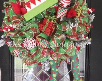 Christmas Wreath, Christmas Elf Wreath, Christmas Door Hanger, Decoration, Holiday Decor, Elf Wreath, Wreath for Door