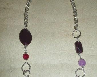 Gemstone necklace and plum and lilac tones ceramic Fuchsia, aluminium chain
