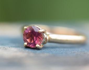 Tourmaline engagement ring, fuscia hot pink gemstone, natural tourmaline ring, pink tourmaline gemstone, pink diamond alternative ring