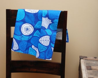 Linen Kitchen Tea Towel Abstract Blues