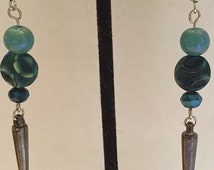 Gunmetal Spikes with Blue, Blue-Green and Teal Beads Handmade Earrings