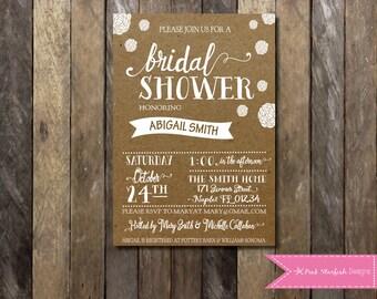Bridal Shower Invitation, Kraft Paper Invitation, Kraft Paper Bridal Shower, Shabby Chic, Flowers, Wedding, Couple, Bachelorette, Hen