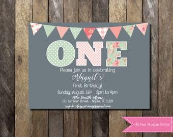 First Birthday Invitation Shabby Chic Vintage - 1st Birthday Invite - ONE Flowers Girls Birthday Party Tea Party Digital Printable