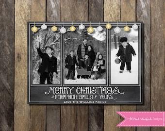 Chalkboard Christmas Card, Photo Christmas Card, Holiday Card, Chalkboard Holiday Card, Glitter, Christmas Card, Gold, Silver, Glam Card