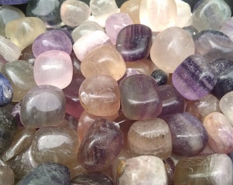 Fluorite Tumbled Crystals - Multi Colored - Banded - Clear. Receive 4 Crystals for 3.88