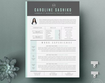 """Resume Template / CV Template + Cover Letter for Word ( 3 page pack )   Instant Digital Download   The """"iNova"""""""
