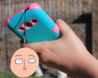 One Punch Man Saitama Sponge Phone Strap with Earphone Jack Plug