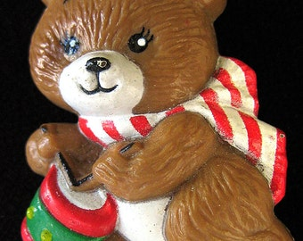 Vtg Christmas Bear Pin Russ Playing Drum Plastic