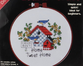Counted Cross Stitch Cheep Rent Dimensions Kit Home Tweet Home Birdhouse