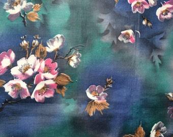 Vintage Cotton in Blue and Purple Floral Design