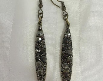 Vintage Looking Black Jeweled Drop Earrings