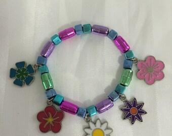 Girl's Fun Flowered Charm Bracelet