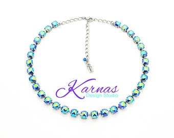 BLUE LAGOON 8mm Classical Crystal Necklace Made With Swarovski Elements *Pick Your Finish *Karnas Design Studio *Free Shipping*