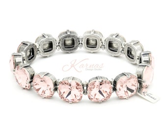 VINTAGE ROSE 12mm Crystal Cushion Cut Stretch Bracelet Made With Swarovski Elements *Pick Your Finish *Karnas Design Studio *Free Shipping
