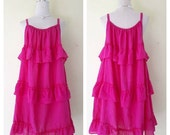 Beautiful dark pink/bohemian women /Summer Dresses/Dress in layers/comfortable/Plus Size XS - 5XXL
