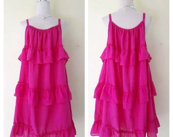 Beautiful dark pink/bohemian women /Summer Dresses/Dress in layers/comfortable/Plus Size XS - 5XXL
