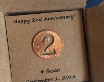 2nd Anniversary, Happy Anniversary, Anniversary Gift, Two Year, Lucky Penny, anniversary gift for him, anniversary gift for her