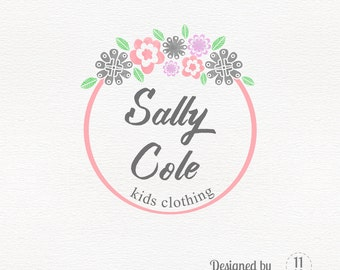 Premade logo design with flowers in pink and grey, femenine logo jewelry, clothing logo