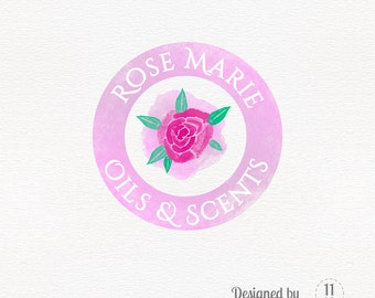 flower logo design, watercolor in pink and mauve, rose premade design, femenine logo, beauty logo