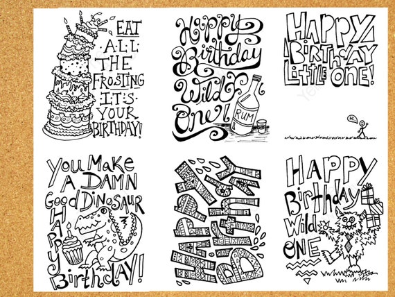 6 Printable Birthday Cards instant download hand drawn and – Black and White Birthday Card