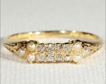 Antique Edwardian Diamond and Pearl Ring in 18k Gold