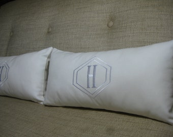 Monogrammed Pillow with INSERT (Choose Size) in Decorator White with Diamond Monogram/ Wedding Gift, Shower Gift, Baby Gift