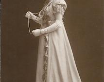 Regency girl, Regency costume, sepia postcard, pretty lady, fancy dress, social history, collage ephemera, journal supply  (rppc/gl49)