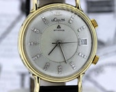 14K Gold Le Coultre MEMOVOX Alarm Wrist Watch with Diamonds