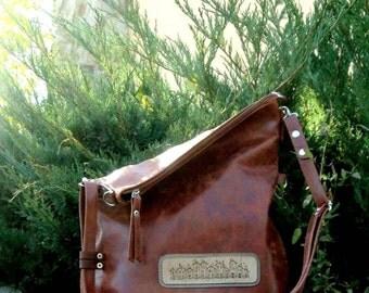 Leather Fold-over Crossbody Bag Leather Fold over purse Folded bag Leather Convertible Bag leather shoulder bag crossover purse Simple  bag