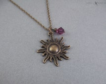 Tangled Inspired Bronze Sun Charm Necklace - Rapunzel
