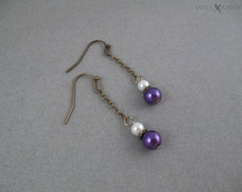Bronze Glass Pearl Dangle Earrings - Multiple Colors