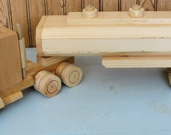 Wooden Toy Semi Truck with Wooden Tanker Trailer