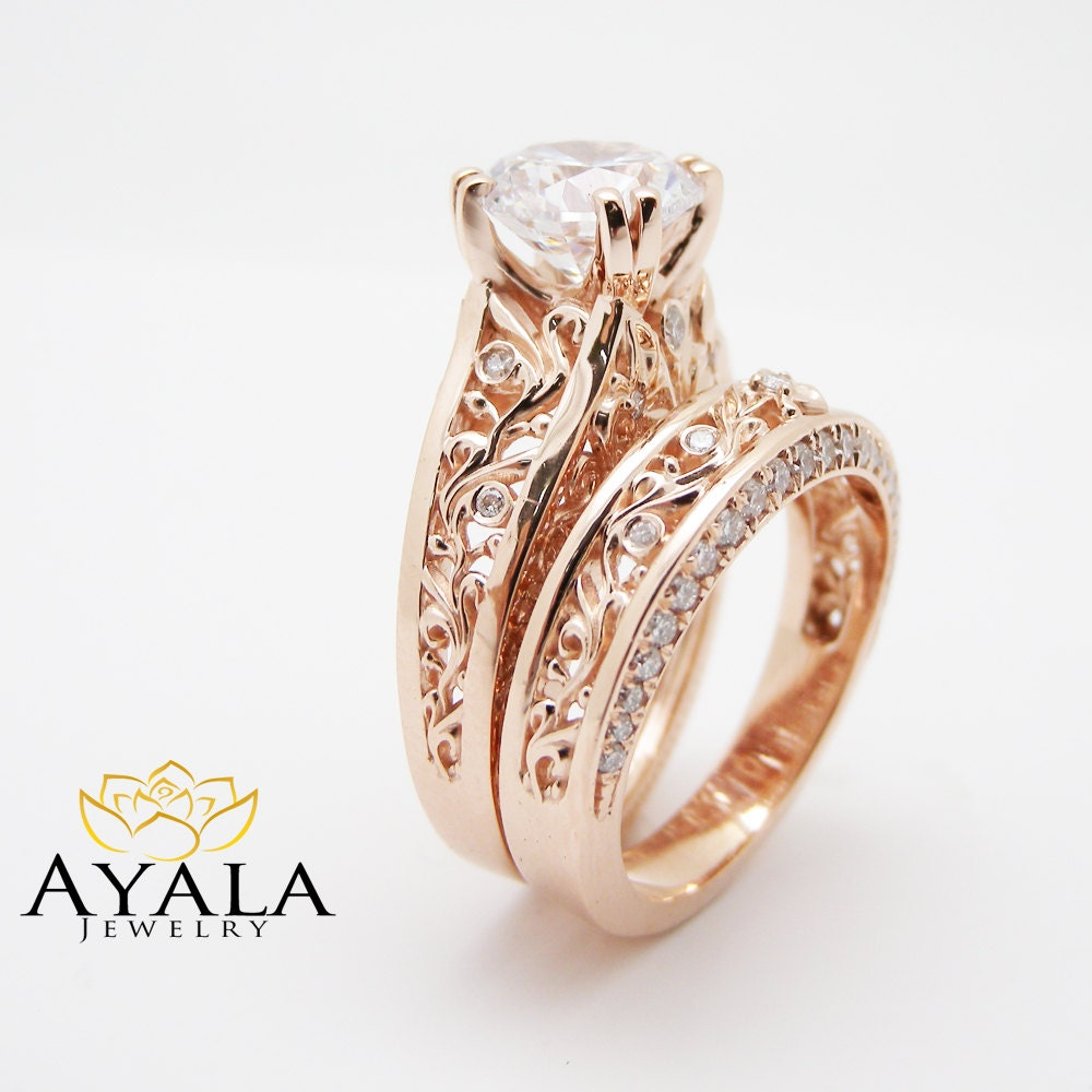 18K Rose Gold Natural Diamond Engagement Ring Set Unique