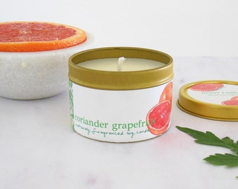 coriander grapefruit candle 4oz | natural citrus scented soy candle with coriander & geranium | outdoor insect repellent candle