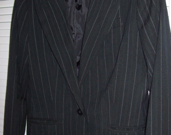 Vintage Norma Kamali Grey Gray Classic Pin Striped Blazer Size 8 10 Medium