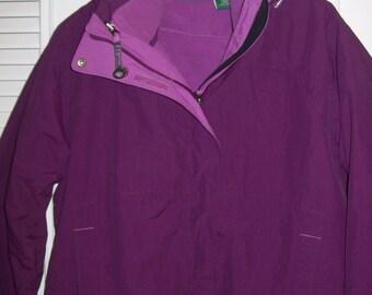 Vintage L L Bean Parka, Removable Fleece Lining. Zips, Snaps Hood.  Size Med