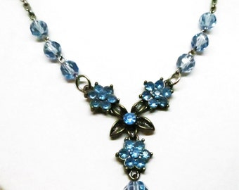 Blue Beaded Necklace - Vintage, Silver Tone, Blue Rhinestones and Beaded Necklace