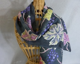 """Silk Scarf """"Grapevines"""", Hand Painted Silk Scarf"""