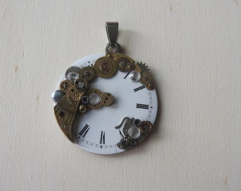 Steampunk pendant made of old watch parts pendant of vintage watch parts