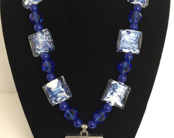 Bold Blue Boss Statement Necklace
