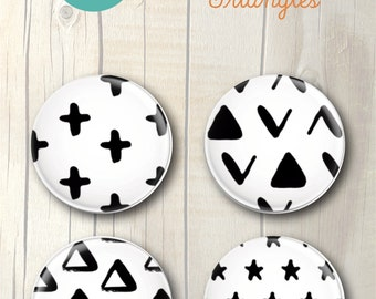 TRIANGLES Set of 4 Magnet Badges