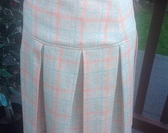 Vintage skirt in yummy pastel colors, Wide Pleats, Elastic Waist