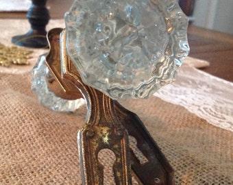 Vintage glass doorknobs, Brass cover plates, Inside mechanism