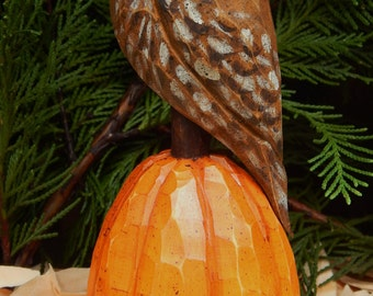 Hand Carved Owl on Carved Pumpkin