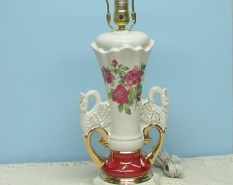 1940's Ruby Red Roses Electric Lamp with Double Swan Handles ~ Signed Worrall ~ Hollywood Regency ~ Romantic ~ Works
