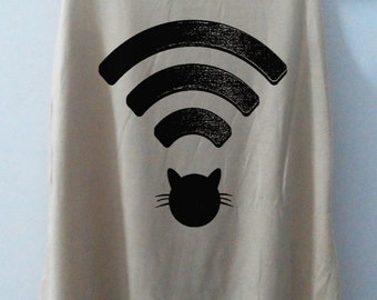 Cat Wifi Tank Top Tshirt Animal Shirt tshirt Women Shirt Women T-Shirt Tunic Top Vest Size S,M,L