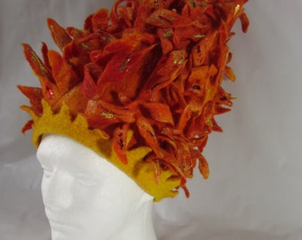Towering Inferno, hand made felted and foiled wool hat