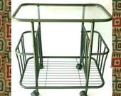 Rolling Bar Cart Industrial Metal Cart Army Green Military Casters Magazine Rack Glass top Bathroom Towel Rack Rolling Living Room Storage