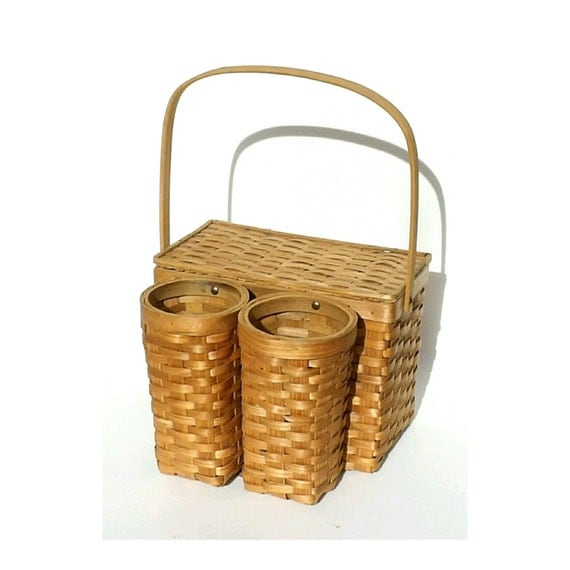 Picnic Basket Items : Items similar to wicker picnic basket wine bottle carrier